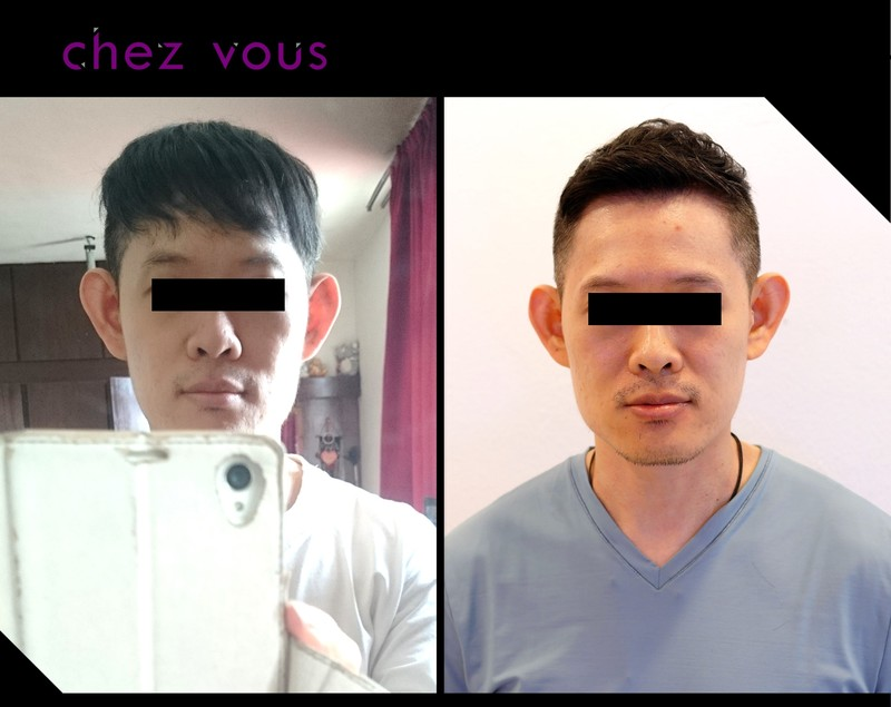 Before and After Chez Vous' Expertligent Hair Fix