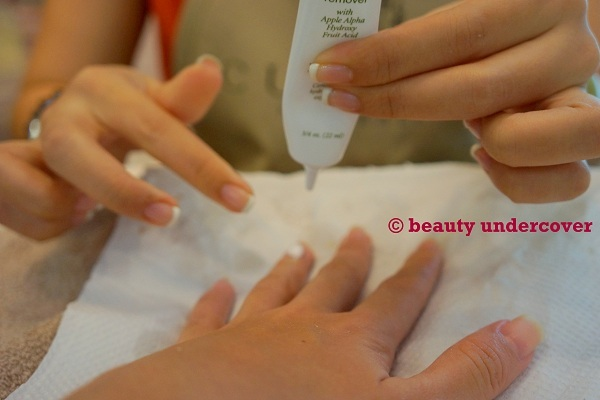 Apply cuticle removal gel