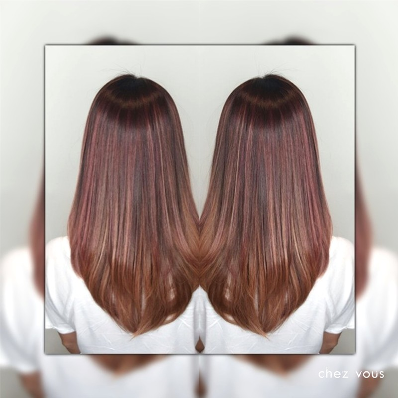 Melted Strawberry Colour Balayage Version II with a Tinge of Rose Gold Babylights (Readen Chia)