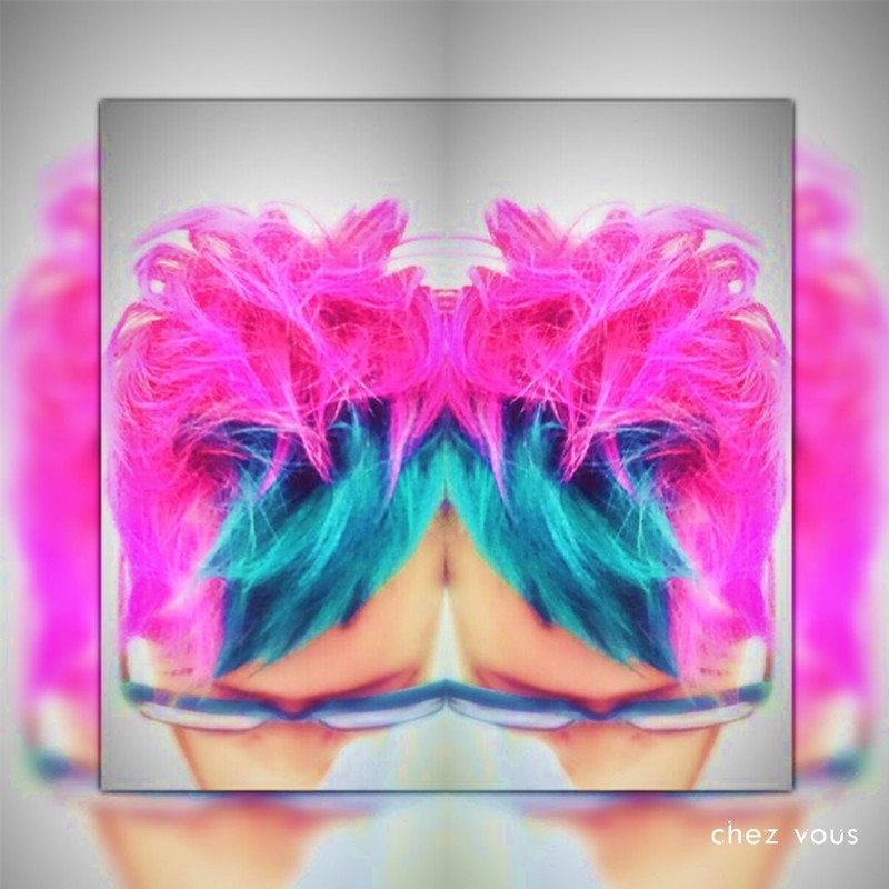 Done by Associate Salon Director of Chez Vous Readen Chia  Design Block Hair Colouring with Neon Pink and Turquoise