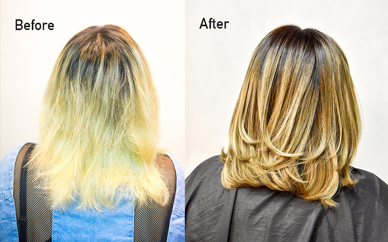 Before after balayage hair colour and treatment for damaged bleached hair