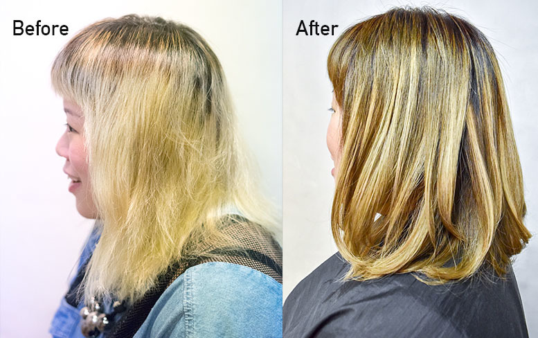 before and after coffee brown highlights and keratin treatment on damaged bleached hair