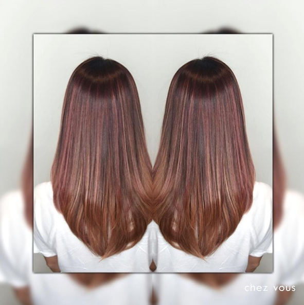Melted Strawberry Red Balayage with a tinge of Rose Gold Babylights by Chez Vous Hair Salon @ Ngee Ann City Takashimaya