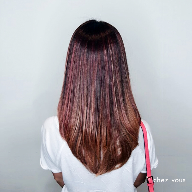 Rose Brown Balayage with Rose Gold Babylights
