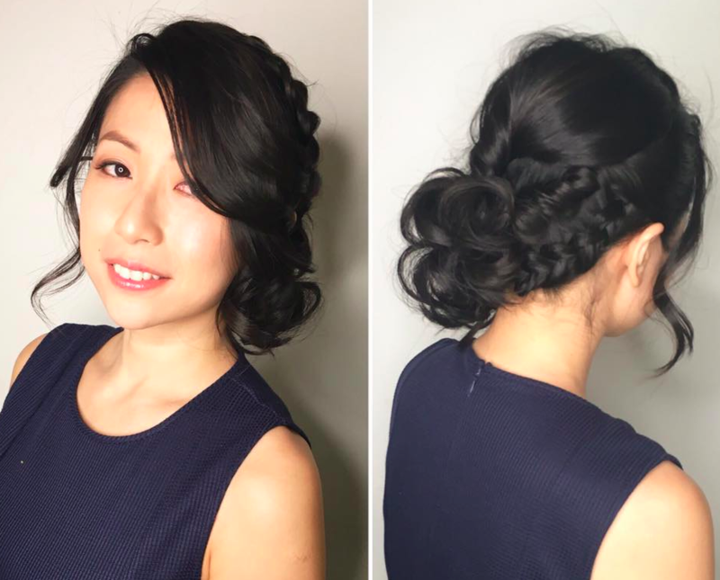 Flower Braided Updo for Valentines Day