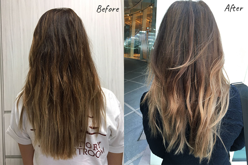 Brown ombre before and after at Flamingo Hair Studio