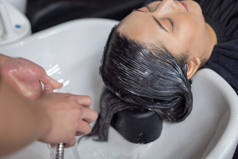 Application of Perm Lotion For Rebonding Perm at Act Point Salon