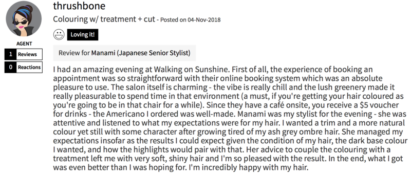 Customer Review of Hair Colour at Walking on Sunshine