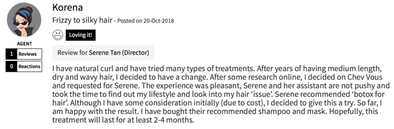 Customer Review of Hair Treatment at Chez Vous Hair Salon