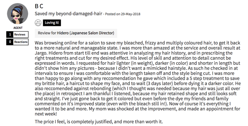 Customer Review of Hair Treatment at The Urban Aesthetics