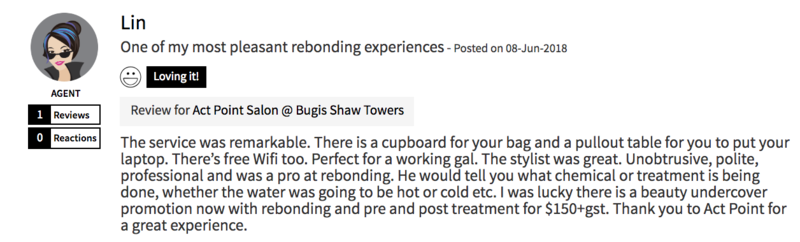 Customer Review of Rebonding at Act Point Salon