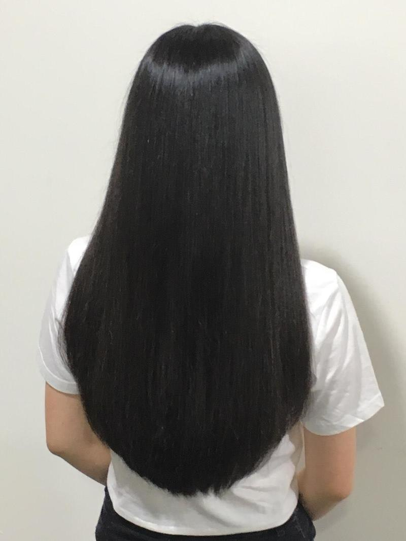 Smooth and Silky Hair After No Chemical Fukugen Treatment at Rubik Salon