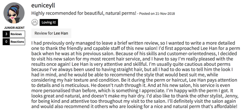 Customer Review of Perm at The Space Korean Hair Salon