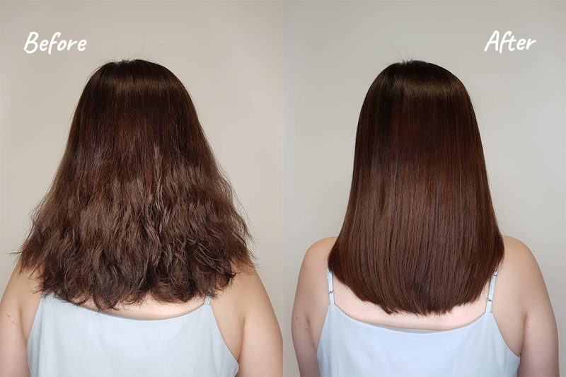 Before and After Hair Botox on Frizzy Hair at Chez Vous Hair Salon
