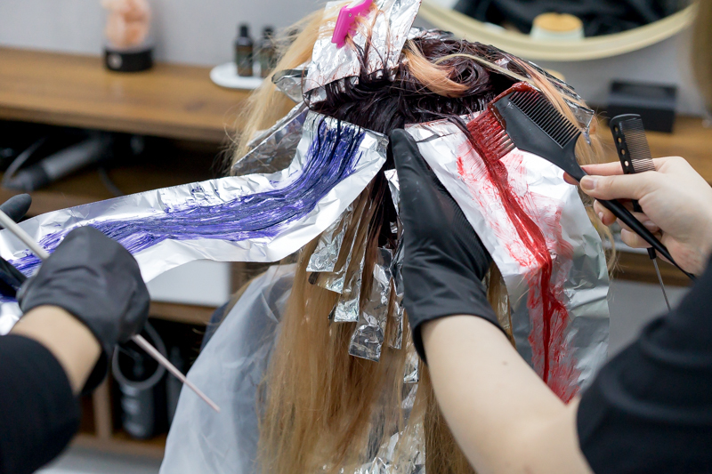 Application of Red, Purple and Orange Hair Colour at Chez Vous Hideaway