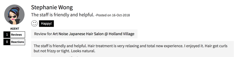 Customer Review of Hair Treatment at Art Noise