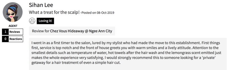 Customer Review of Hair Treatment at Chez Vous Hideaway