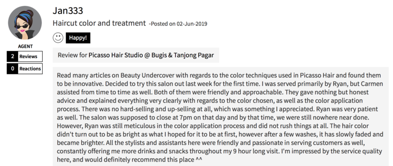 Customer Review of Hair Colour by Picasso Hair Studio