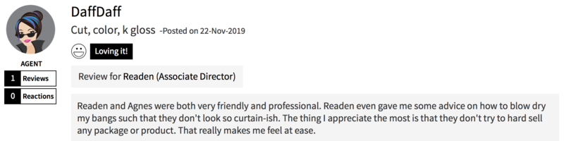 Customer Review of Hair Colour at Chez Vous