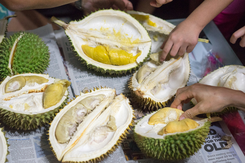 Eating Durian in Singapore