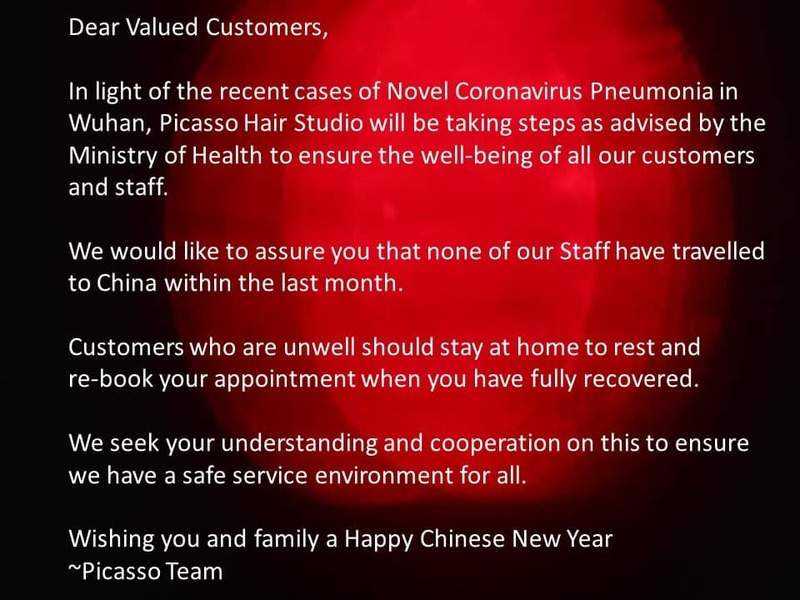 Email from Picasso Hair Studio on Appointment Postponement During COVID-19