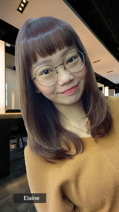 Straight Hair with C Curl Ends and Bangs for Zoom Video Call