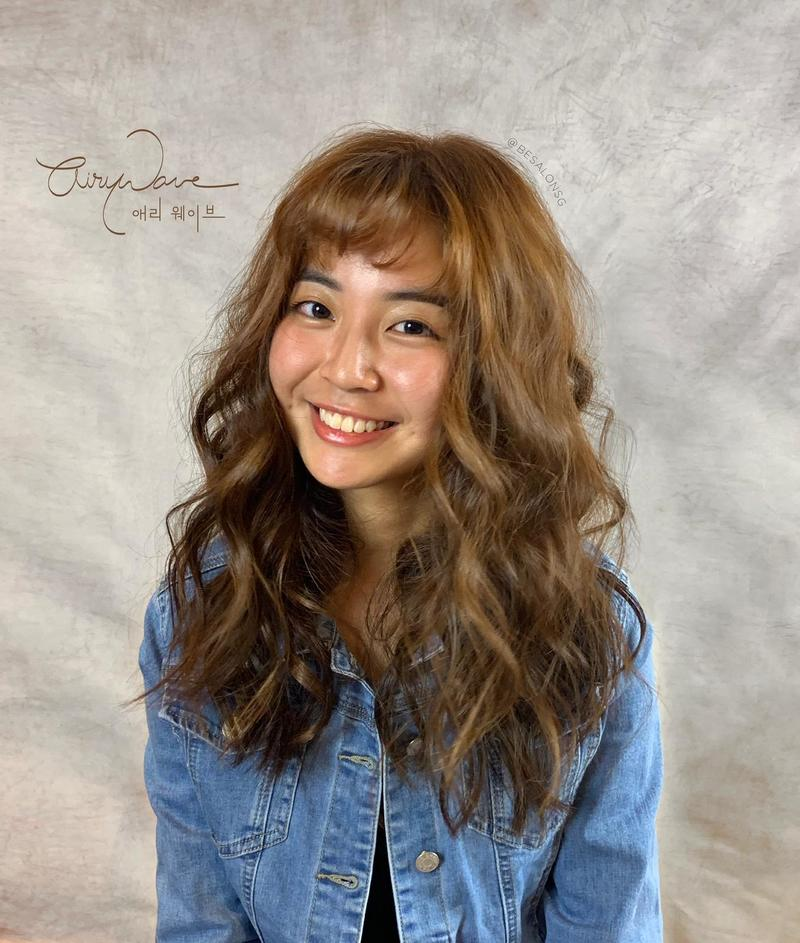 Curly Perm with Bangs For Oblong Face