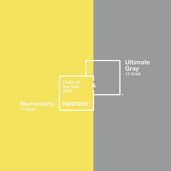 2021 Pantone Colour of The Year Illuminating Yellow and Ultimate Gray