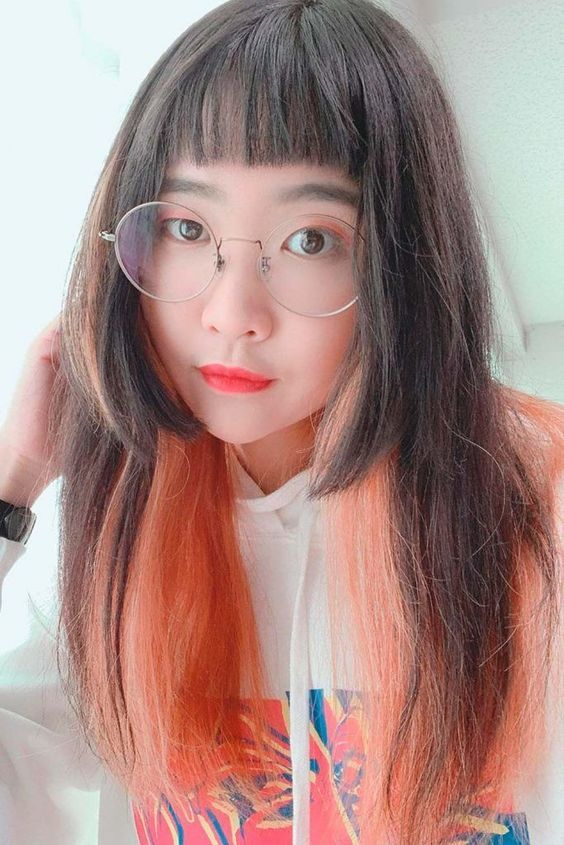 Hime Cut with Earloop Pink Highlights