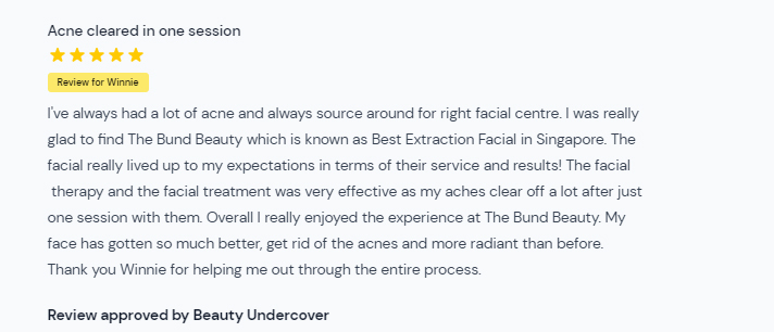 The Bund Beauty AMK Customer Review on Pimple Cleared After One Session