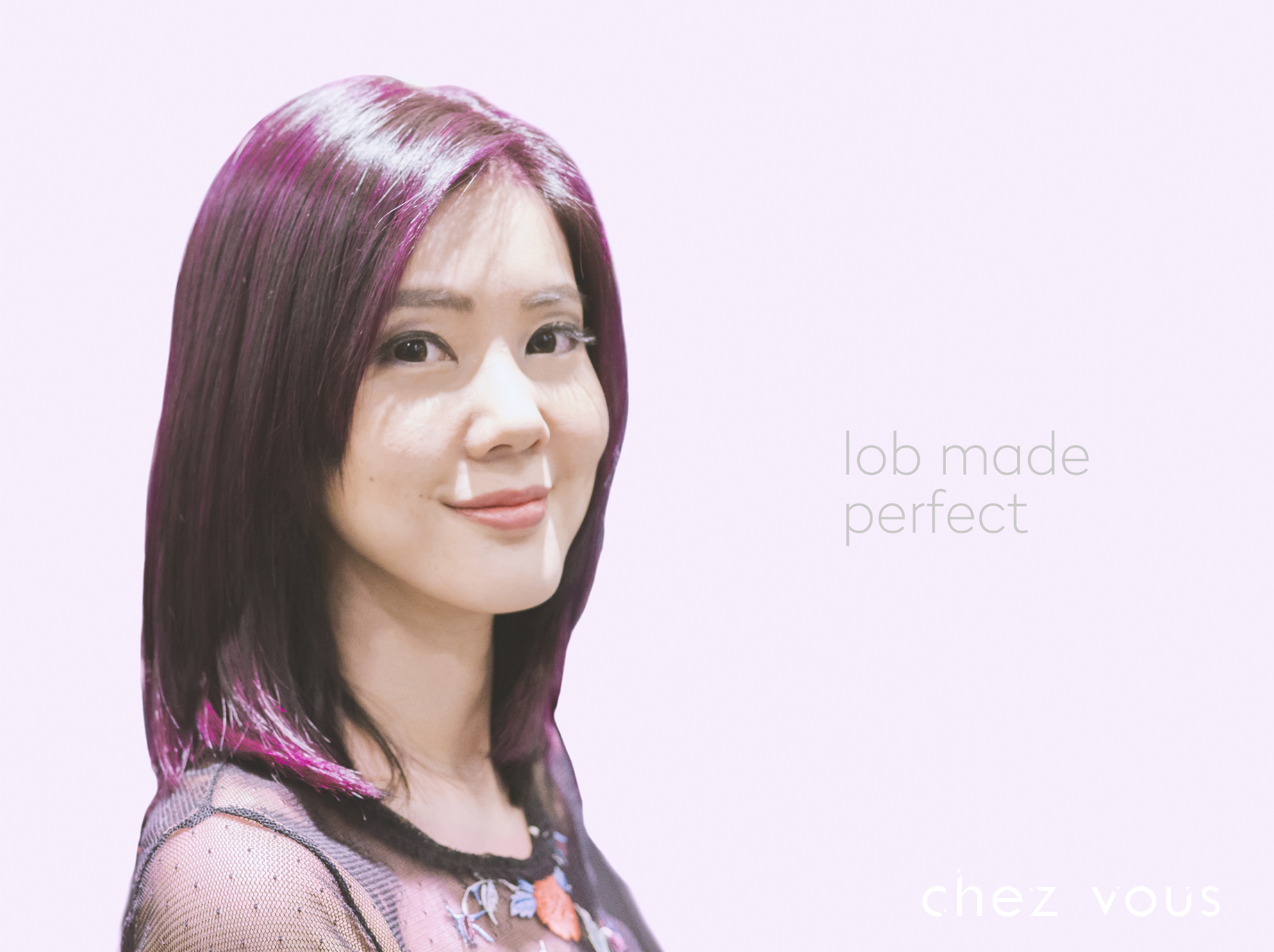 Purple Lob Hairstyle by Chez Vous