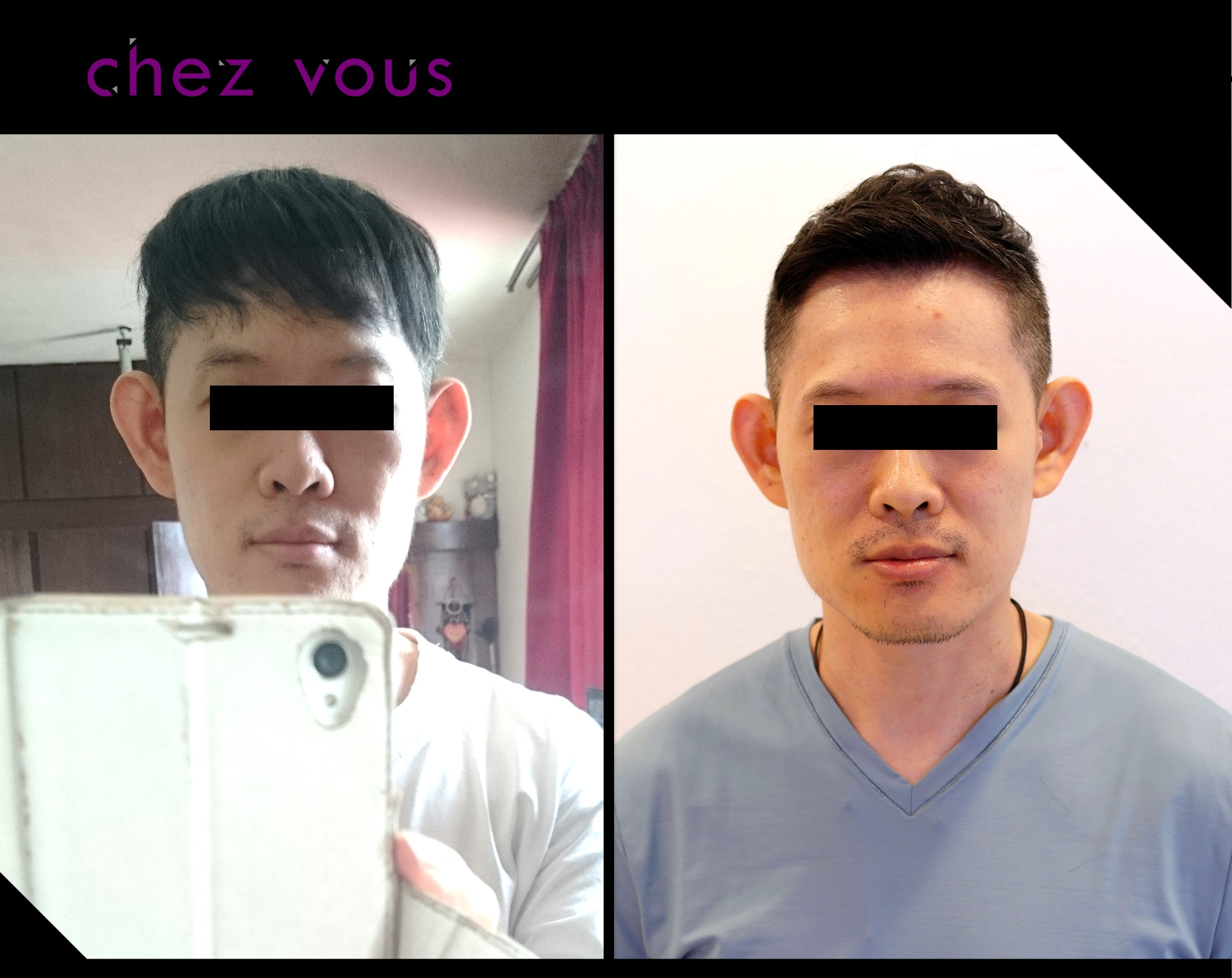 Men's Haircut and Perm (Oscar) Before and After at Chez Vous