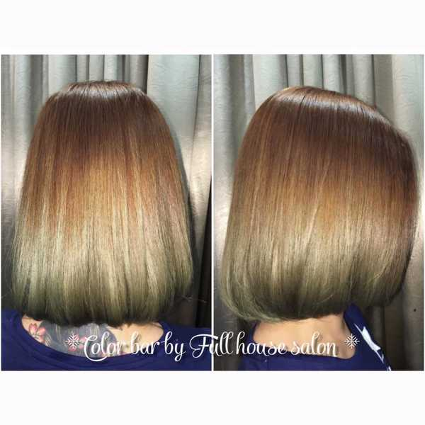 Ash brown and ash green hair colour by Full House