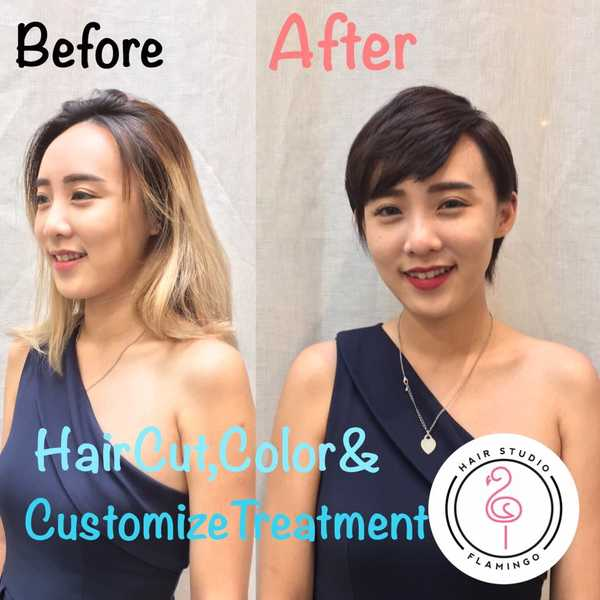 Before and After Dark Hair Colour at Flamingo