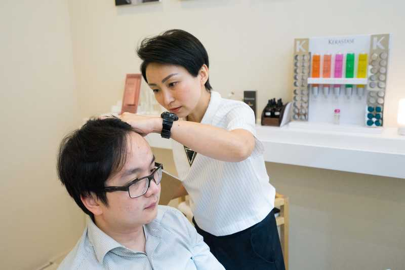 scalp inspection at picasso hair studio