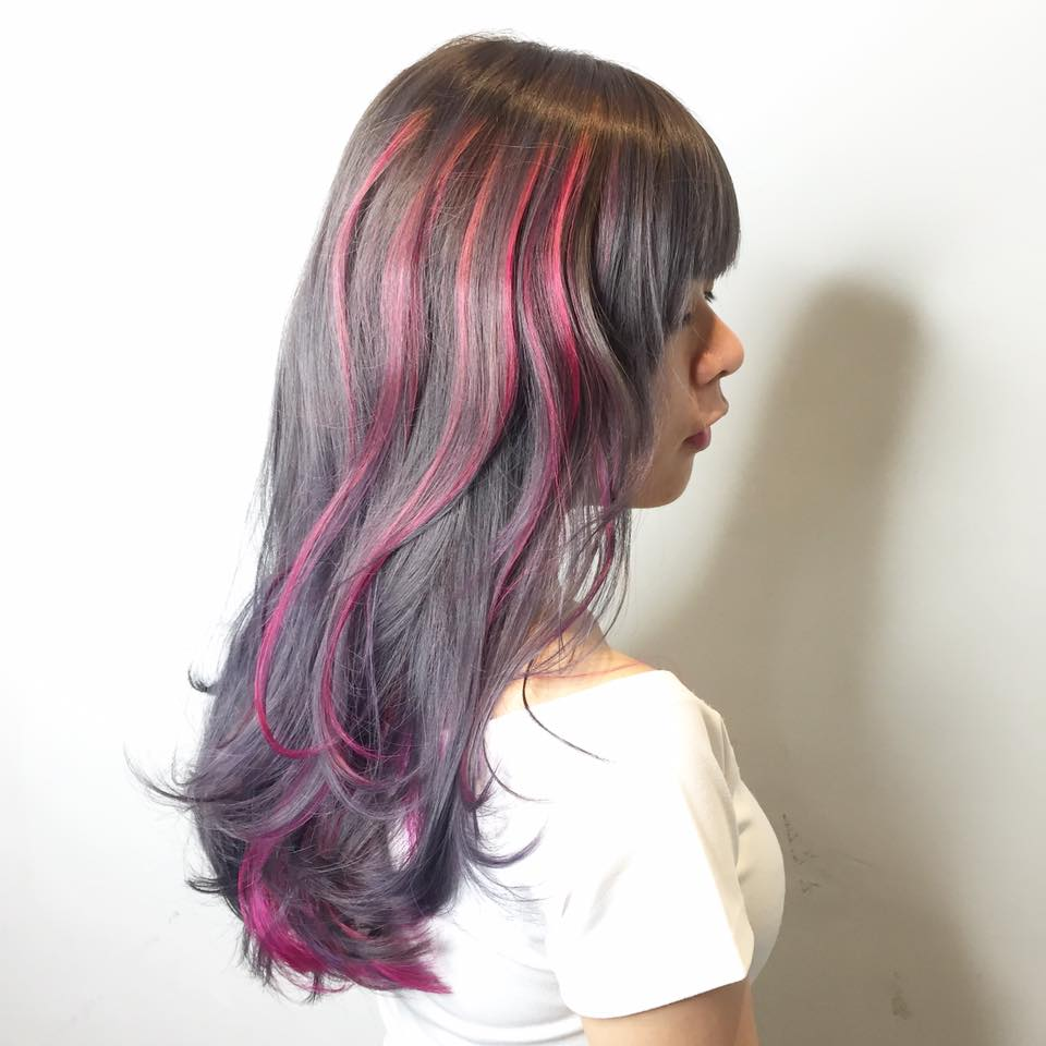 Grey Hair with Pink Highlights