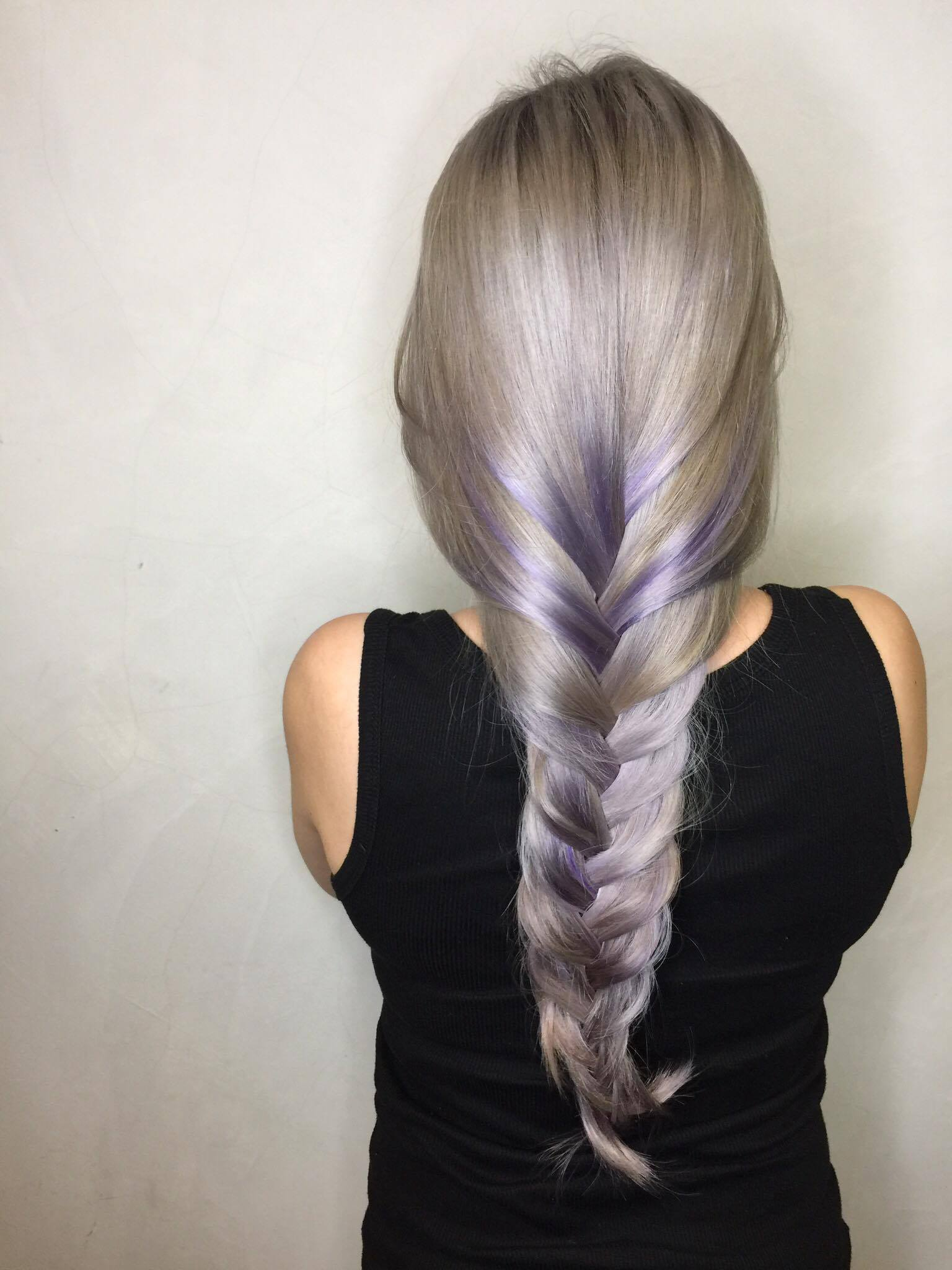 Silver Hair with Purple Highlights