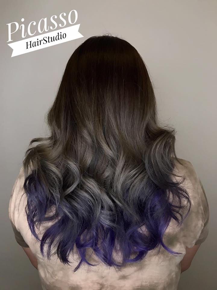 Ash grey and purple by Picasso Hair Studio