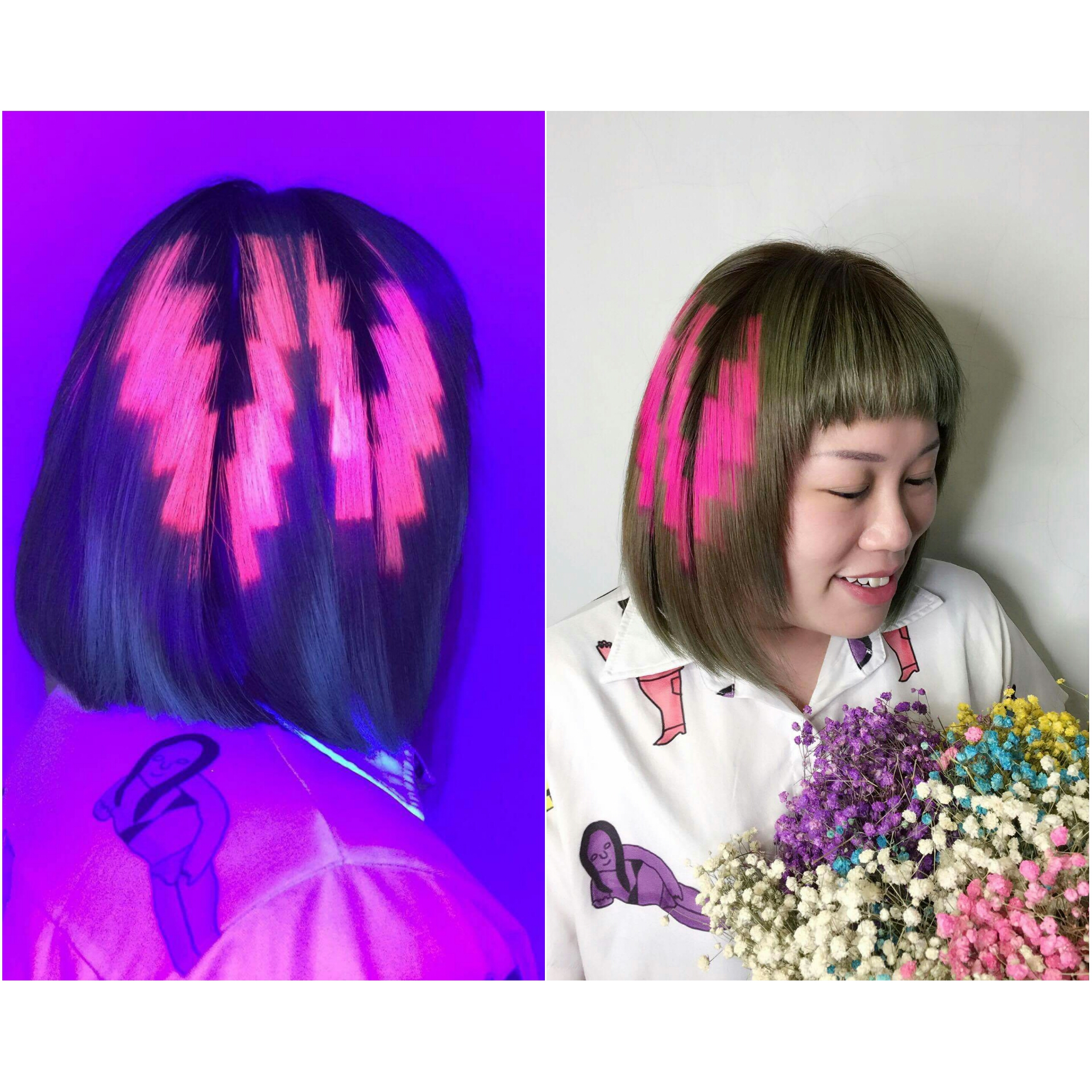 Pink Pixelated Hair Colour