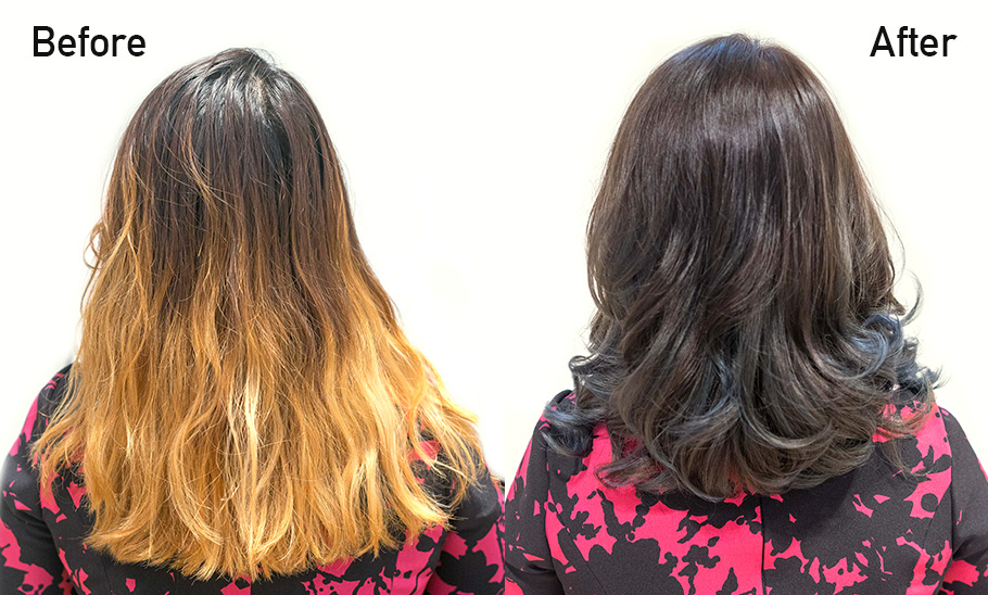 Before and After Korean Perm on Bleached Hair at Pro Trim Korean Hair Salon