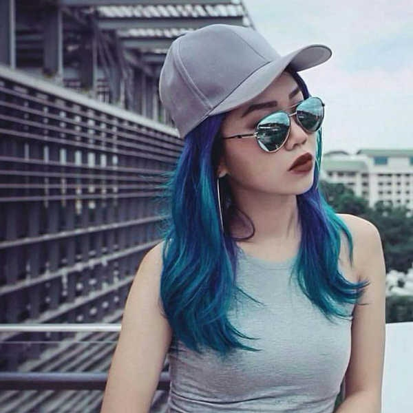 Turquoise Blue Hair Colour Suited For Asian Skin