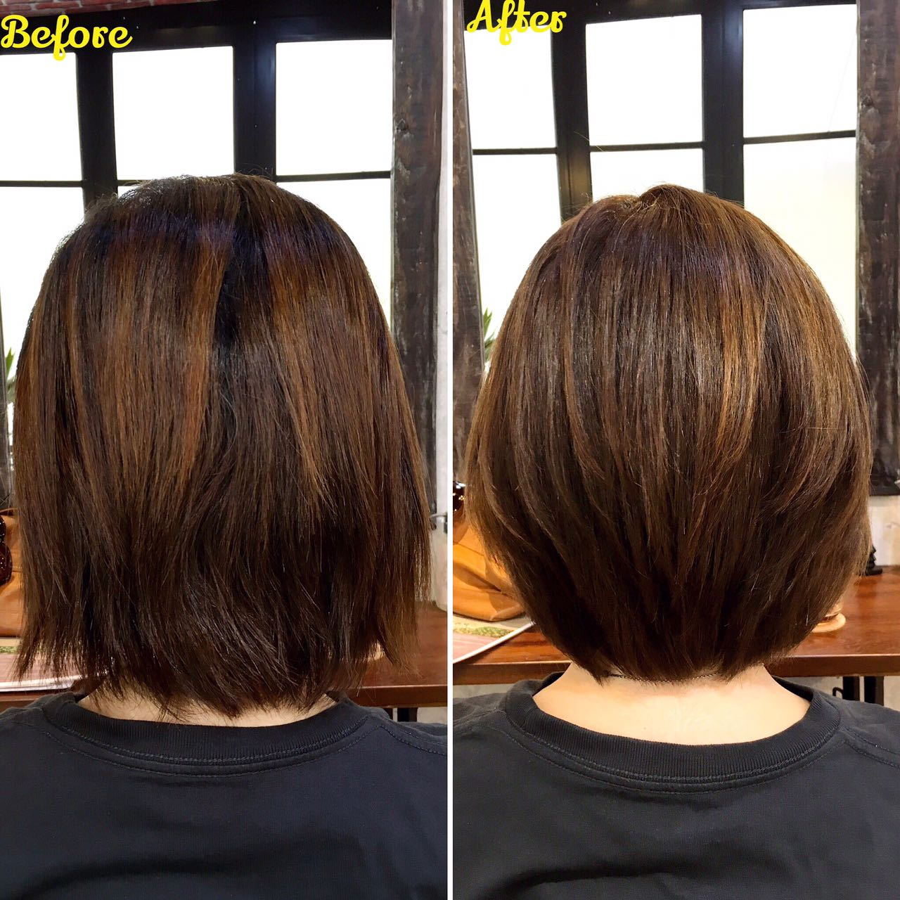 Before and After Rebonding on Short Hair by Rubik Salon