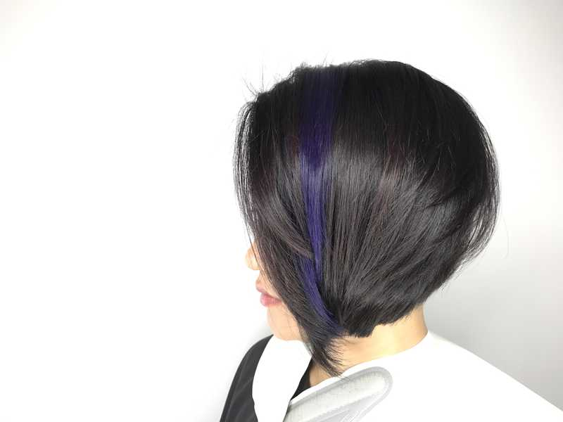 Short Haircut with Blue Highlights at The Bund AMK