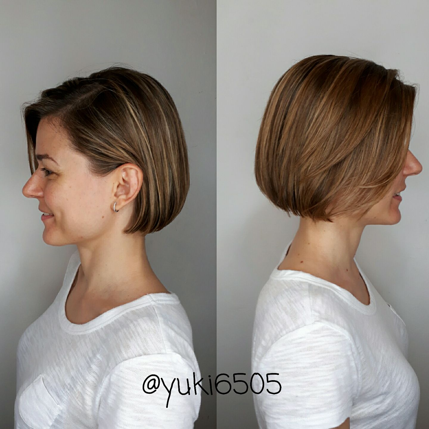 Ladies Short Haircut with Highlights