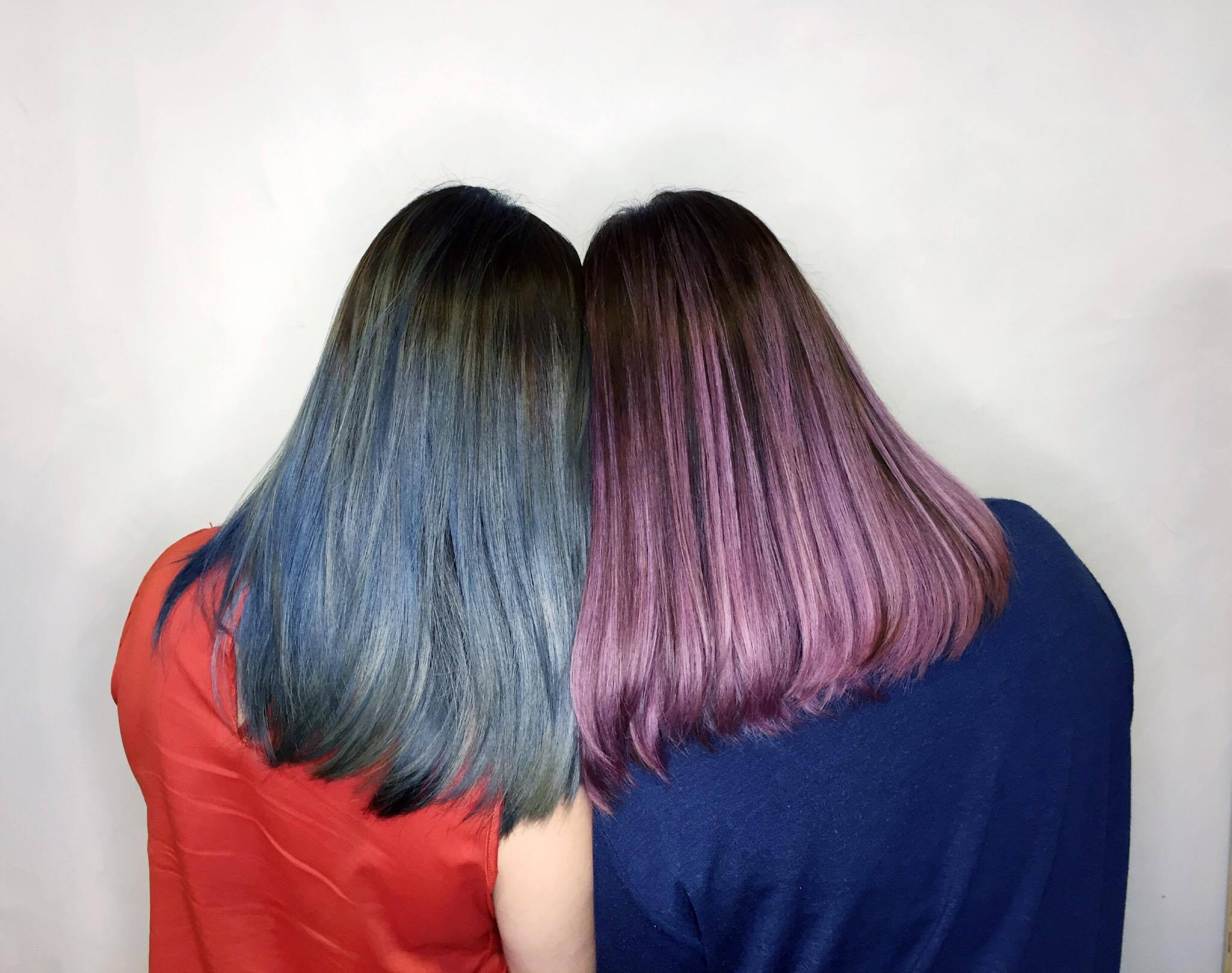 Contrasting Blue and Purple Hair Colour for Couples