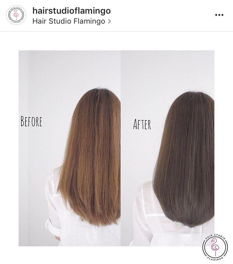 Before and After Dark Brown Hair Colour for Work by Flamingo