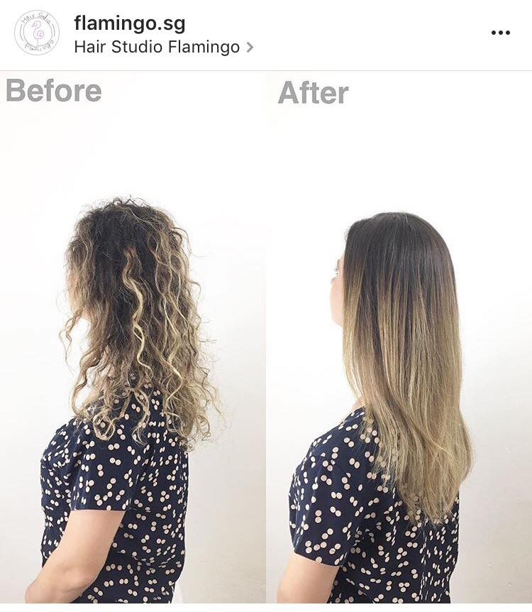 Before and After Hair Treatment at Flamingo Hair Studio