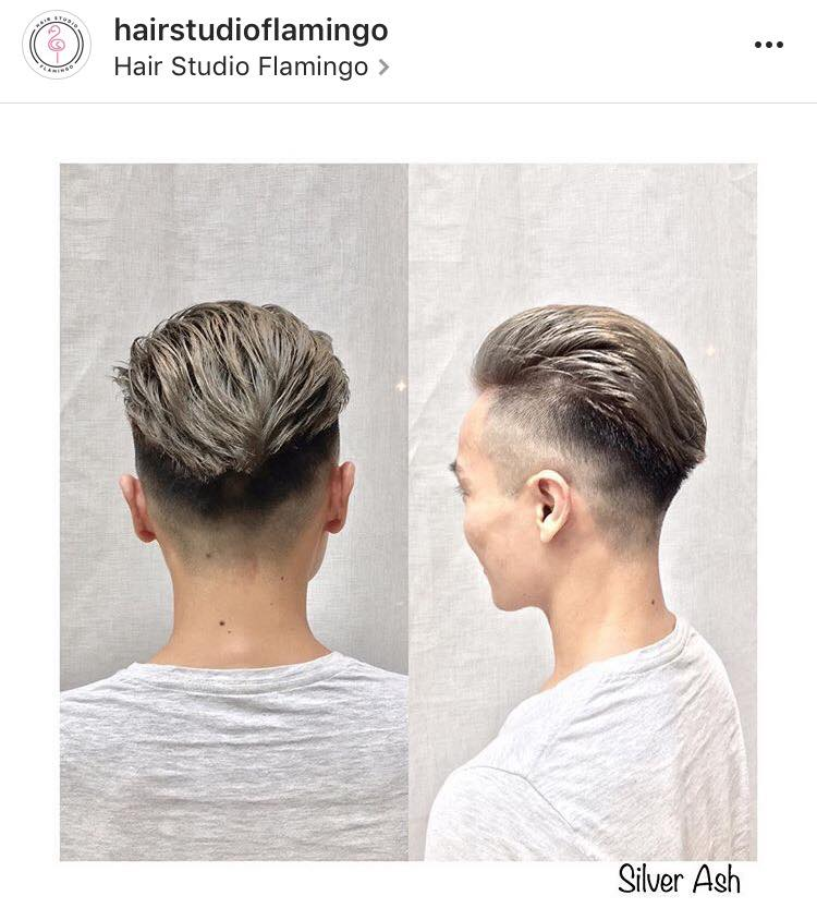 Men's Pompadour with Fade Haircut by Flamingo