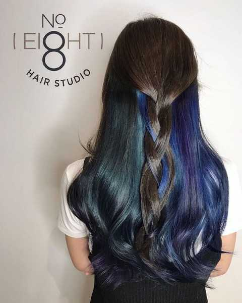Two-Toned Blue Galaxy Highlights by No. 8 Hair Studio