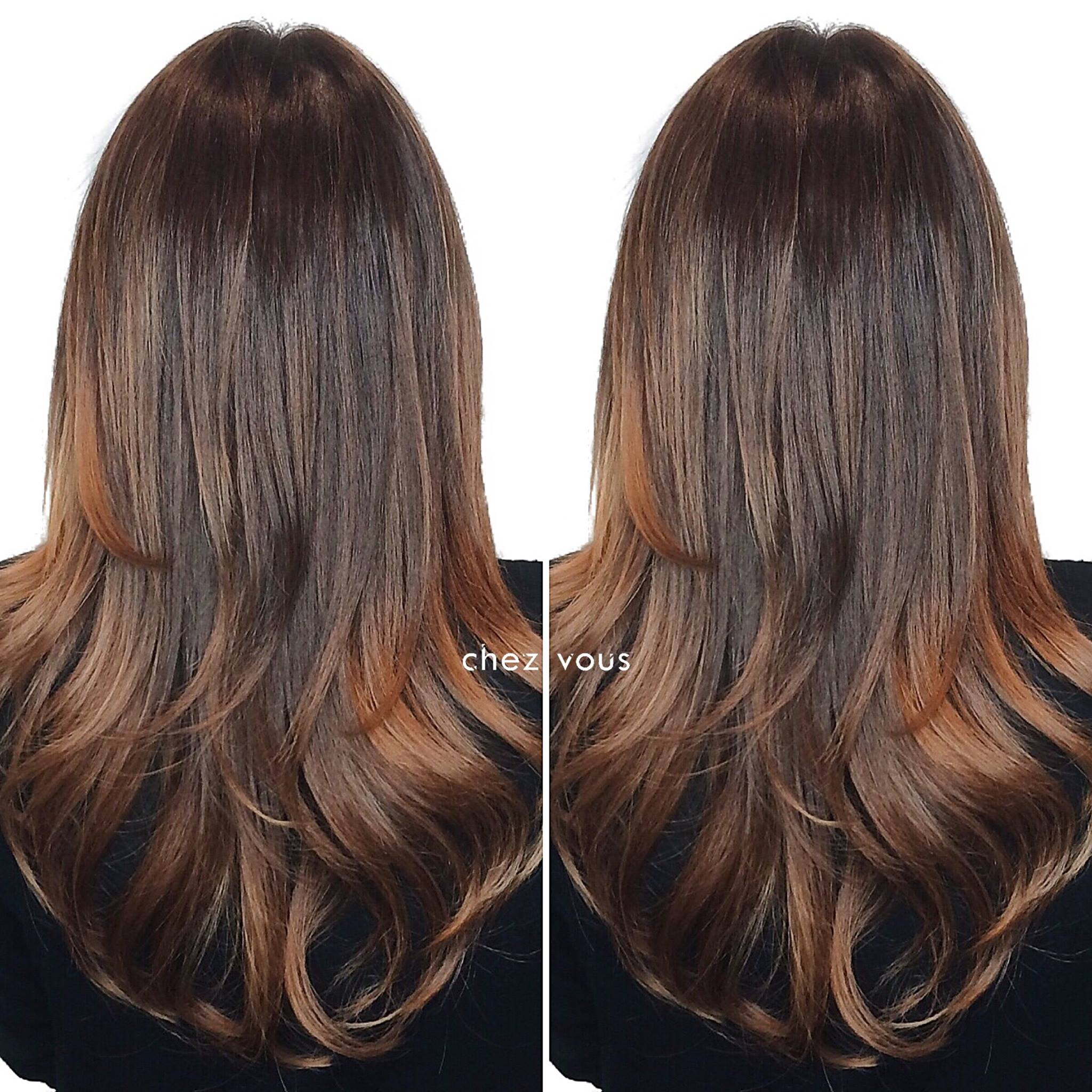 Reddish Brown Highlights Hair Colour by Chez Vous